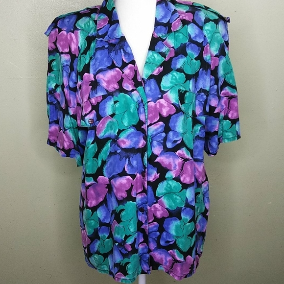 Vintage Abstract Floral Print Shirt L